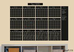 48x73 Chalkboard Calendar Decal - 12 Month Year Chalkboard Calendar - Chalkboard Yearly Planner Vinyl Chalk Board Wall black board - C034
