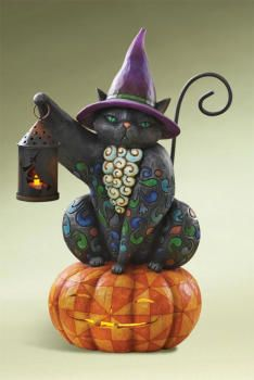 Jim Shore Halloween Cat with Lantern on Pumpkin, he is my pride and joy Halloween decoration :)