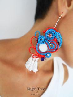 Soutache earrings statement extra long earrings dangle earrings colorful earrings blue earrings wearableart jewelry for her tassel earrings by MagdoTouch on Etsy Blue Earrings, Tassel Earrings, Statement Earrings, Dangle Earrings, Jewelry For Her, Jewelry Art, Unique Jewelry, Soutache Necklace, Gland