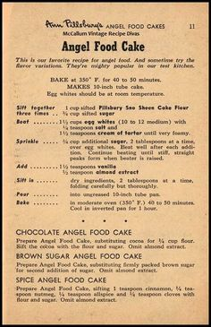 Vintage Ann Pillsbury Angel Food Cake Recipe