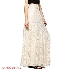 df464a6b65 BODOAO Women Lace Double Layer Pleated Long Maxi Skirt Elastic Waist Skirt