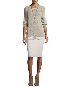 -6VT7 Eileen Fisher  Rustic Twisted-Tape Bateau-Neck Sweater, Maple Oat Washable Wool Crepe Long Tank  Washable Wool Crepe Pencil Skirt