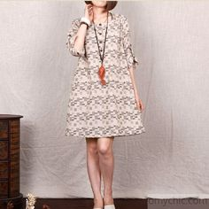 light kahki print 2015 cotton sundress oversize cotton summer shift dress