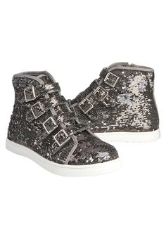 2508f3c632cd Sequin Buckle High Top Sneakers Justice Shoes