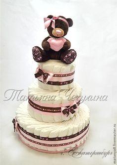 """Подарки для новорожденных, ручной работы. Ярмарка Мастеров - ручная работа Торт из памперсов """"Шоколадный мишка-2"""". Handmade."""