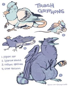 vulture culture — I've been away but the fox/seagull gryphon crossed. Mythical Creatures Art, Mythological Creatures, Magical Creatures, Fantasy Creatures, Creature Concept Art, Creature Design, Creature Drawings, Animal Drawings, Chibi