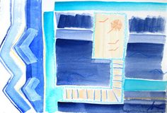 """""""Dock Life"""" by Way Way Allen, 6.5 x 9, acrylic and oil pastel on deckled edge watercolor paper, $70"""