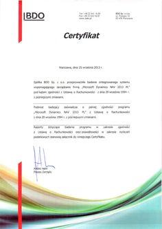 certyfikat zgodności Microsoft Dynamics NAV