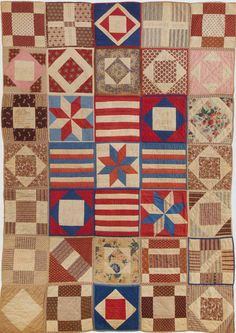 This quilt of individually quilted and bound blocks (aka Potholder quilts) is attributed to the Civil War years, made for a Soldier's Aid Society---in the collection of the New England Quilt Museum. Old Quilts, Antique Quilts, Vintage Quilts, Crib Quilts, Scrappy Quilts, Civil War Quilts, Quilt Of Valor, Patriotic Quilts, Sampler Quilts