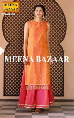 Orange & Pink Chanderi Suit - Salwar Kameez Online Shopping For Ethnic Wear: Buy Designer Sarees, Lehengas, Anarkali suits, Salwar Suits,Kurtis,Gowns – Meenabazaar.com