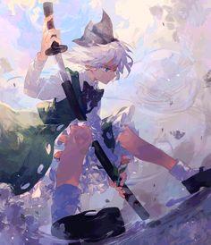 """妖夢"" Manga Anime, Art Manga, Fanarts Anime, Anime Art Girl, Anime Characters, Anime Girls, Anime Illustration, Character Illustration, Desu Desu"
