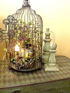decked out birdcage on a pretty table & 12 Gorgeous Decor Ideas Using Birdcages | Pinterest | Bird cages ...