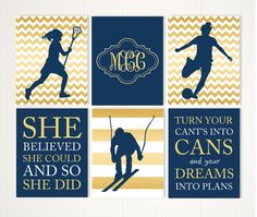 Teen girl wall art, lacrosse girl wall art, soccer girl, ski racer, skier, inspirational quotes, set of 6, choose your colors and sports by PicabooArtStudio