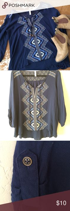 Navy peasant top with embroidery Peasant top with embroidery on the front. Worn once. Smoke free home 😘 Xhilaration Tops Blouses