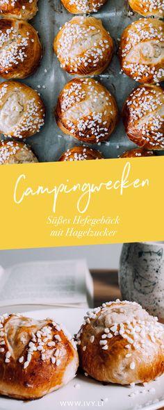 Campingwecken | Süßes Hefegebäck mit Hagelzucker | Hefegebäck mit einem süßen Kern | Süße Brötchen | Backen | Rezept | Hefeteig | zum Einfrieren und Aufbacken | ivy.li