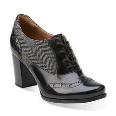 Ciera Brine Grey Herringbone Combination - Clarks Womens Shoes - Womens Heels and Flats - Clarks - Clarks