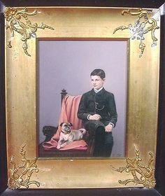 "19th Century German Pug Oil Painting on Tile Signed ""Fr Till"""