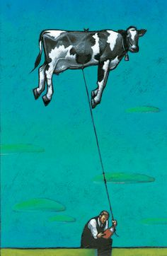 floating cow, marco cazzato