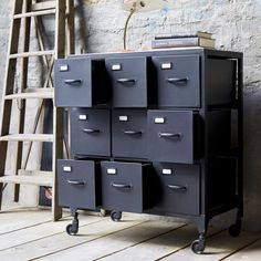 Metal chest of drawers - Industrial style chest of 9 drawers sale - Tikamoon industrie Industriel Metal Chest of 9 Drawers Industrial Dresser, Metal Industrial, Industrial House, Industrial Style, Locker Shelves, Locker Storage, Storage Chest, Metal Chest, Glass