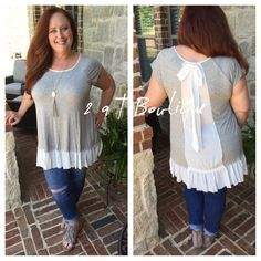"""NEW ARRIVAL  Chiffon ribbon tunic Plus size ruffle tunic featuring Chiffon and Ribbon detail on back. Available in size 1X(14/16), 2X(16/18), and 3X(18/20). Model is 5'6"""" 40DD SIZE 14/16. modeling size 1X In above photo. Color:Heather grey/white TKHM1353111 2 a T Boutique  Tops"""