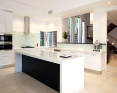 Kitchen Ideas No Wall Cabinets love this splashback colour with the white benches and dark bench
