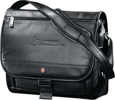 """Wenger (R) Executive Leather Compu-Saddle Bag. Custom executive compu-saddle bag that will impress all of its recipients. Whether you use these to reward valued employees or thank respected clients, you'll be proud to see your logo on this deluxe bag. It features a built-in sleeve that holds up to a 17"""" laptop and expands 2.5"""" to offer additional storage space. Shoulder strap is padded and adjustable for carrying comfort.  #leather #wenger #brand #branding #customize #executive #gift…"""