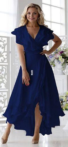 Elegant Dresses For Women, Pretty Dresses, Beautiful Dresses, Blue Dresses For Women, Elegant Summer Dresses, Spring Dresses, Simple Dresses, Wrap Dress Midi, White Midi Dress