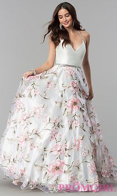 Shop for long prom dresses and long formal dresses at PromGirl. Long party dresses, floor-length prom dresses, long formal party dresses, and long evening gowns for special occasions. Floral Print Gowns, Floral Prom Dresses, Plus Size Prom Dresses, Pretty Dresses, Homecoming Dresses, Beautiful Dresses, Long Gown Dress, Lehnga Dress, Lehenga