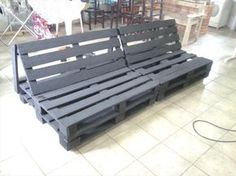 Pallet Outdoor Furniture wooden pallet painted sofa frame - Checkout full DIY reclaimed pallet sofa tutorial and know about some tips and tricks to recycle the pallets as they just serve you as a bypass to luxury!