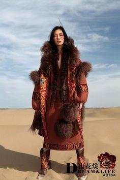 Blooming deluxe Mongolian wool jacket,exotic duplex jacquard A09839 | ArtkaFashion - Clothing on ArtFire