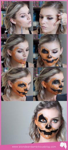 PEELED BACK JACK 'O' LANTERN FACE | peeled back jack o lantern face, halloween makeup, halloween tutorials, halloween costumes, pumpkin makeup, jack o lantern makeup, jack 'o' lantern makeup, pumpkin face look