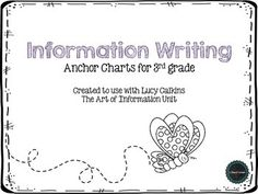 Information Writing Anchor Charts for 3rd Grade. This product can be used with the Lucy Calkins, The Art of Information Writing Unit.This download includes charts for:*Teaching moves that information writers should borrow*Strong tables of contents information*Strong information writing information*How to write powerful introductions*Common text features*Questions writers should ask themselves*Informational writing skills across genres*Tables of contents page for students to fill out