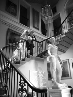 sledmere house wedding photography of black and white bride and groom on beautiful stairs by stephen armishaw photographer