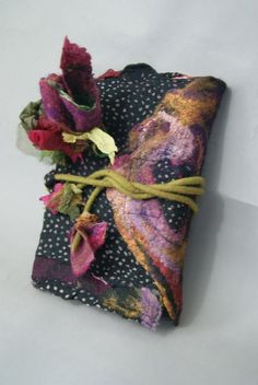 Nuno Felted Journal Cover with Nuno Flowers a Sugarplum Original by J. Gauger.: