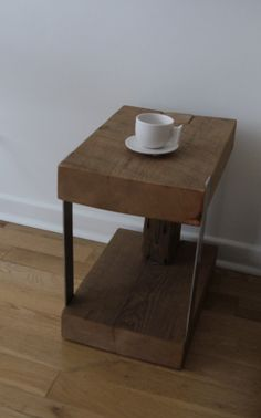 Reclaimed wood and Metal Side Table. Modern Rustic by TicinoDesign
