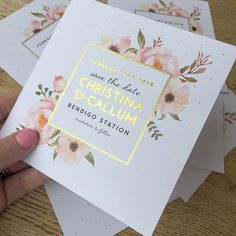 To foil or not to foil! That is the question. Here's a gorgeous save the date flower/foil combo we did recently on our premium 350gsm white card.  Love the little foil dots too! Any of our designs can have a little or a lot of foiling with colour. Just email us your enquiry, but hop to it as pre-Christmas foiling orders close soon  #foilinvitations #goldfoil #savethedate