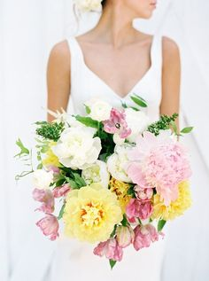Pink and yellow! What a perfect spring or summer wedding color palette! Pink Yellow Weddings, Yellow Wedding Colors, Romantic Wedding Colors, Summer Wedding Colors, Floral Wedding, Fall Wedding, Wedding Bouquets, Wedding Flowers, Colorful Weddings