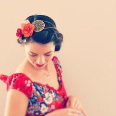 Couronne de fleurs / headband bijou bohème chic, rouge, orange et rose.