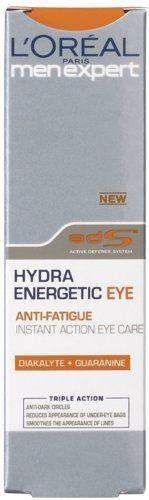 L'Oreal Men Expert Hydra Energetic Eye Cream (15ml) by L'Oreal Men Expert. $9.99. L'Oréal Men Expert Hydra Energetic Moisturising Eye Cream contains soft reflex microparticles that boost the reflection of light and reduce the appearance of dark areas of the eye contour immediately after use.  L'Oréal Men Expert Hydra Energetic Eye Cream is designed fight the signs of fatigue, stress and restless nights whilst moisturising the most sensitive area of your face.  L'Or...