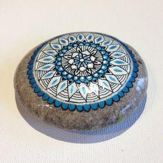 Big Silver Blue Mandala Painted Stone - Adriatic /Gift / Decoration / Painted rock art Beachstone Mandala Stone