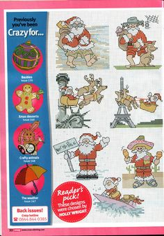 Cross Stitch - International Santas 2 of 2 - beach, Australia, kangaroo, New York, Statue of Liberty, Paris, France, Eiffel Tower, North Pole, Mexico, Hawaii, surfing