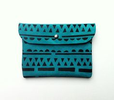 CLUTCH // iPad Mini Case // teal suede with black pattern