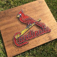 String art decor for a Cardinals fan. #stringart #Cardinals #STL