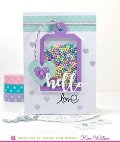 How to make a super cute shaker card filled with tiny pops of color! Queen and Company, Kim Watson. Love Cards, Diy Cards, Mason Jar Cards, Tarjetas Pop Up, Washi Tape Cards, Interactive Cards, Shaker Cards, Baby Scrapbook, Card Tutorials