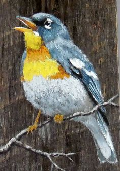 Northern Parula songbird authentic barnwood rustic hand