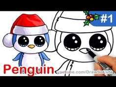 How to Draw Beanie Boo Penguin easy Step by Step Christmas Special