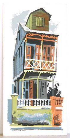 New Orleans Maison Voudoun Serigraph 1950's www.midcenturyserigraph.com