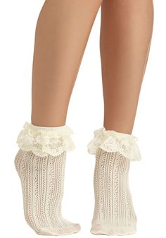 Dancing on Flair Socks - Solid, Knitted, Ruffles, Good, Sheer, Cream, Fairytale, Variation, Best Seller, Party, Spring, As You Wish Sale