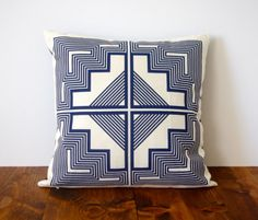 Native Quilt Pillow - Navy Blue / indigo / screen printed organic cotton