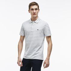 LACOSTE Men's Stripe Ribbed Collar Piqué Polo Shirt - silver/white. #lacoste #cloth #